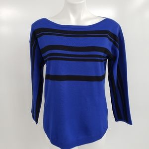 Cable & Gauge Royal Blue Sweater w/ Racer Stripes